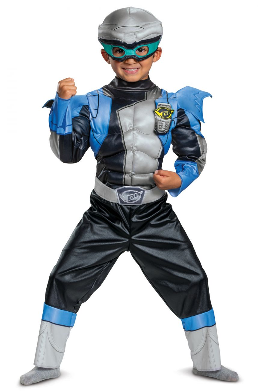 DELUXE MUSCLE SILVER POWER RANGER COSTUME FOR BOYS