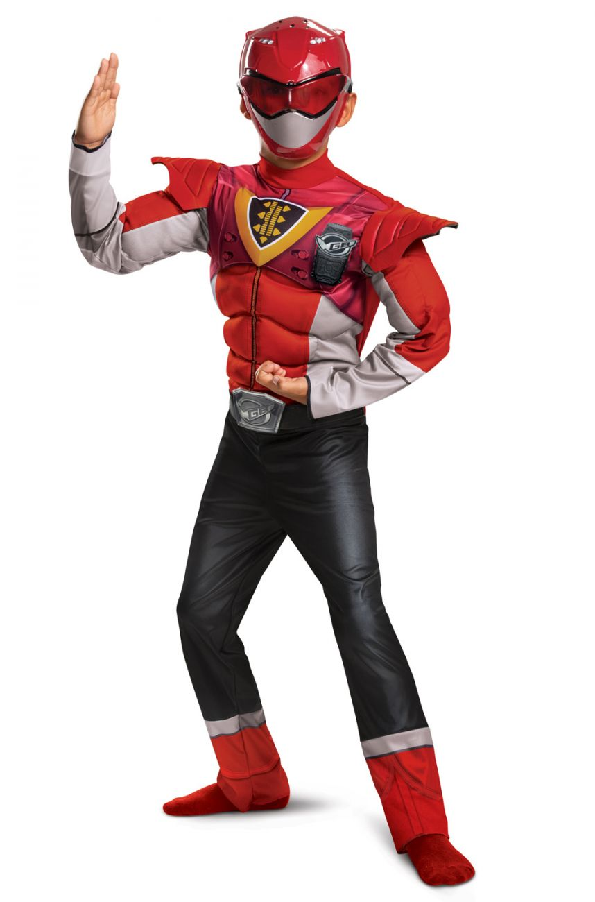 DELUXE MUSCLE RED POWER RANGER COSTUME FOR BOYS