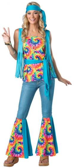 TIE DYE HIPPIE COSTUME FOR WOMEN
