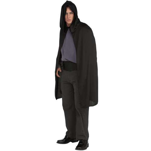 "45"" HOODED BLACK LONG CAPE FOR ADULTS"