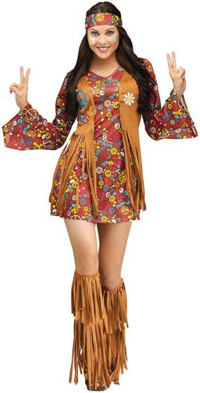 THE GROOVY PEACE AND LOVE HIPPIE COSTUME FOR WOMEN