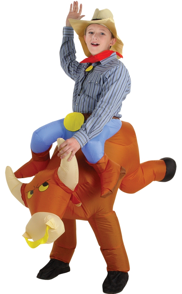 INFLATABLE BULL RIDER COSTUME FOR KIDS