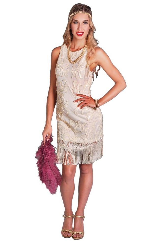 BEIGE FLAPPER COSTUME FOR WOMEN