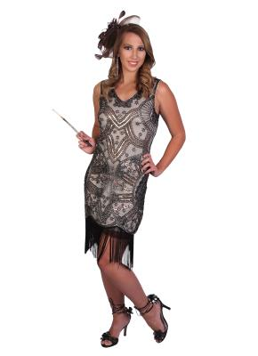 BLACK FLAPPER COSTUME FOR WOMEN