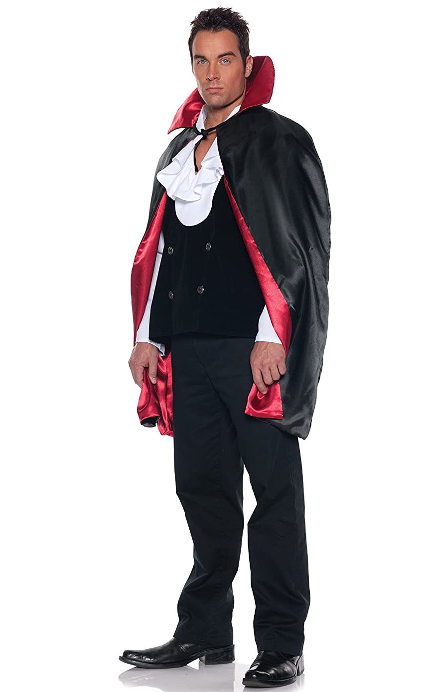 "44"" BLACK/RED REVERSIBLE ADULT CAPE"