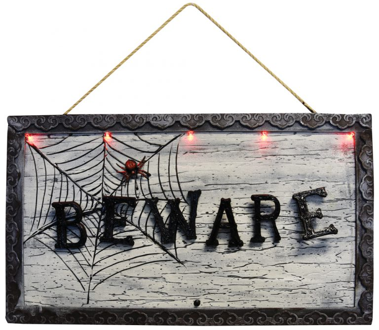 ANIMATED BEWARE SIGN HOME DECOR