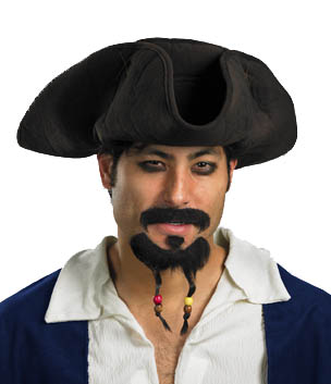 PIRATE HAT WITH MOUSTACHE AND GOATEE