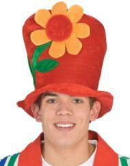 CLOWN TOP HAT WITH FLOWER