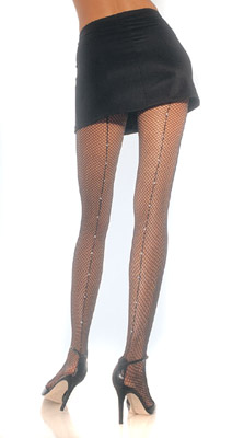 RHINESTONE BACKSEAM FISHNET PANTYHOSE