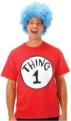 ADULT CAT IN THE HAT THING 1 COSTUME SHIRT AND WIG
