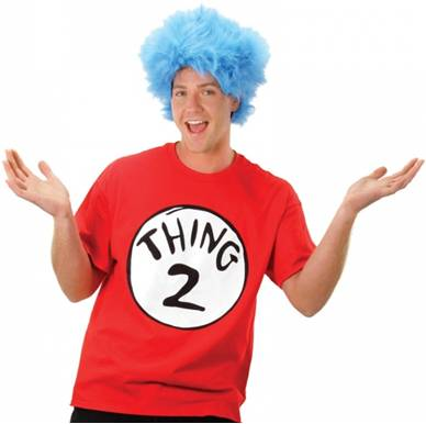 ADULT CAT IN THE HAT THING 2 COSTUME SHIRT AND WIG