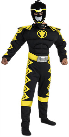 BLACK POWER RANGER DINO THUNDER MUSCLE COSTUME