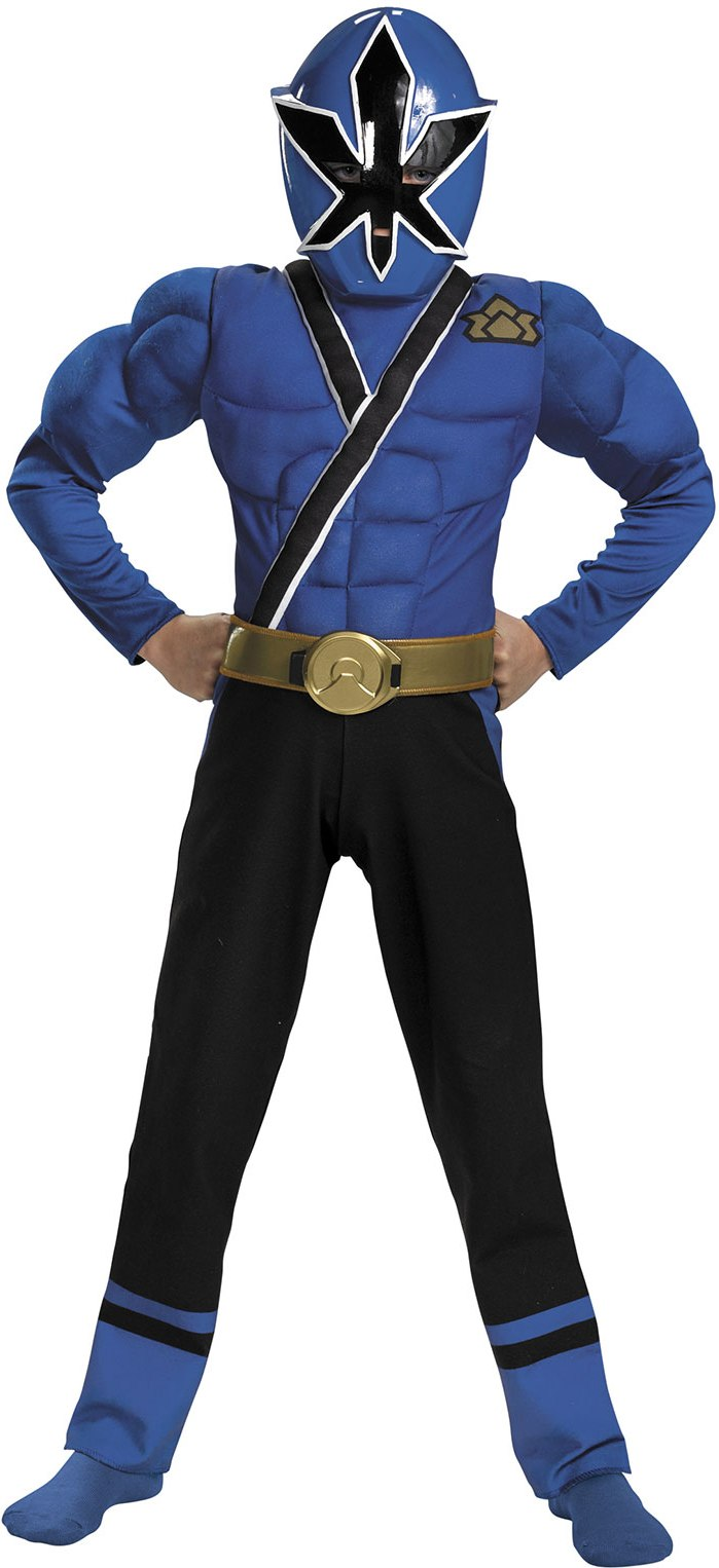 BLUE SAMURAI POWER RANGER W MUSCLE CHEST