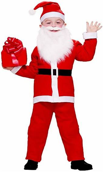 Xmas Costumes for a child in stock and on sale Boy Elf Costume Little Santa Costumes in stock and available for shipment.