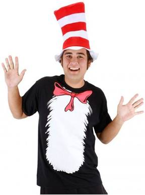 ADULT CAT IN THE HAT COSTUME SHIRT AND HAT
