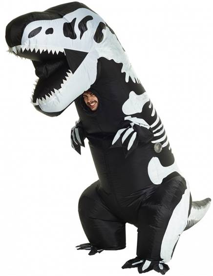 INFLATABLE GIANT SKELETON T-REX COSTUME FOR ADULTS