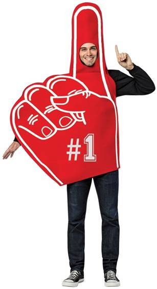FOAM FINGER COSTUME FOR ADULTS MEN OR WOMEN