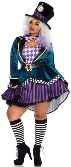 DELIGHTFUL MAD HATTER PLUS SIZE COSTUME FOR WOMEN*