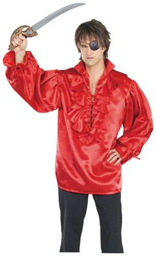 RED SATIN PIRATE SHIRT