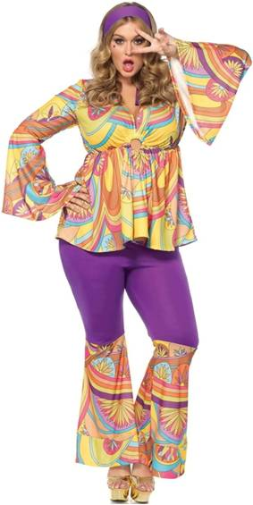 SEXY PURPLE HAZE HIPPIE 60s 70s COSTUME FOR WOMEN
