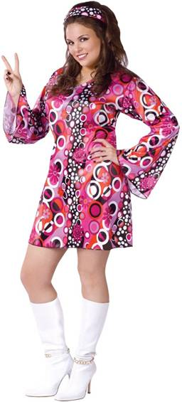 PLUS SIZE FEELING GROOVY 70s COSTUME FOR WOMEN