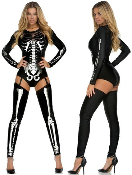 SEXY SILVER SKELETON COSTUME FOR WOMEN