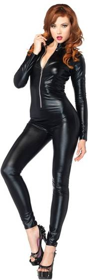 WET LOOK ZIPPER FRONT LAME CAT SUIT